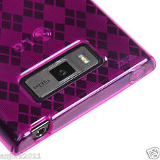 LG SPLENDOR VENICE US730 CANDY SKIN GEL COVER CASE ACCESSORY HOT PINK CHECKER