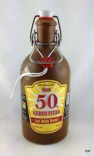 Tonflasche 50 Geburtstag Bügelverschluss versiegelt Kräuterlikör braun 0,5 Liter