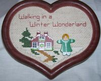 Completed Cross Stitch Walking In A Winter Wonderland Heart Framed Finished