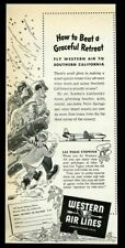 1946 Western Airlines family winter travel to California vintage print ad