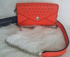 $125 NWT REBECCA MINKOFF ORANGE STUDDED MINI WALLET ON CHAIN CROSSBODY