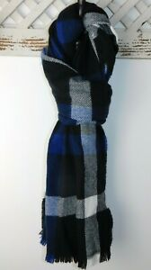 NWT Gap Men's Plaid Scarf Cozy Fall Winter Black/Blue/White MSRP$27 New