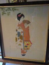 NICE! Ishikawa Kiyohiko SILK PAINTING GEISHA-around 100 years old-Low Price-RARE