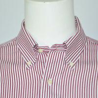 BROOKS BROTHERS Slim Fit Non Iron Cotton Dress Shirt Sz 16 - 32 Red White