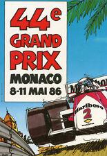 44ème Grand Prix de MONACO  8 au 11 Mai 1986 Illustré voiture de course Marlboro