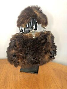 Vintage Antique 1910s 1920s Ladies Fur Handbag Bag Muff with Key