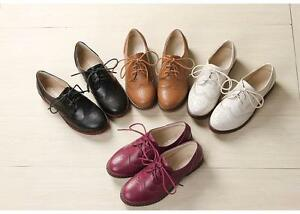 Women Stylish leather like lace up Brogue wingtip walking booties oxfords shoes