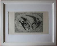 """Hans Thoma """" Wundervögel II """" Oval. Seltene, Handsignierte Original-Lithographie"""