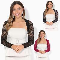 Womens Ladies Lace Shrug Evening Bolero Party Blouse Crop Top Open Wrap Blazer