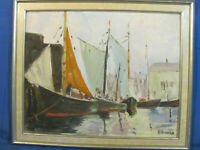 Portsmouth, N. H. / Boston Harbor School Impressionistic Oil Painting
