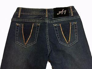 A7 Women's Embellished Dark Jeans Skinny Stretch Gold Swarovski Crystal Size 26