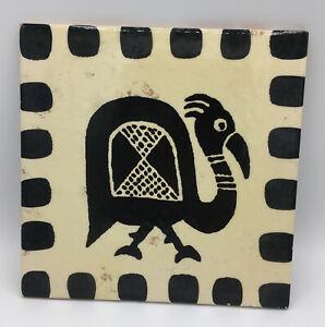 "La Gioconda Hand Painted Italy Abstract Primitive Bird Black WhiteTile Trivet 8"""
