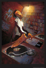 MUSIC ART PRINT - The DJ by Justin Bua 24x35 Spinning Mixing Record Urban Poster