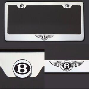 T304 Chrome Bentley Logo Black Letter Laser Etched Engraved License Plate Frame