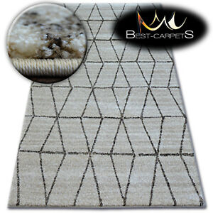 Thick Quality 20mm Modern Design Densely Soft Rugs SHADOW Triangles Beige Cream