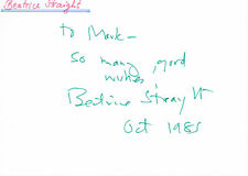 """Beatrice Straight 1914-2001 genuine autograph signed card 4""""x6"""" US actress"""