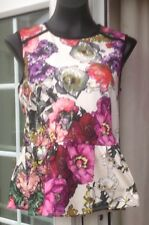 BNWT - M&Co MULTI COLOURED FLORAL SLEEVELESS LUXE BIKER TOP - SIZE 14