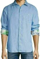 Tommy Bahama Line In The Sand Linen-Blend Button Down Shirt Men's SZ M Blue