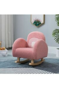 Kids Rocking Chair, Wooden Rocker Chair with Fluffy Cover for Boys Girls,...