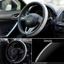 15''Luxury Bling Bling Rhinestone Plush PU Leather Car Steering Wheel Cover