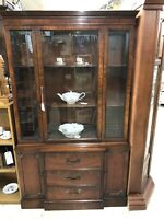 Mahogany Breakfront China Display Cabinet Cupboard by White