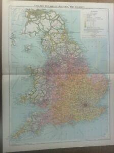 Vintage Antique 1939 Philips Map 20x15 England & Wales RAILWAYS & Political