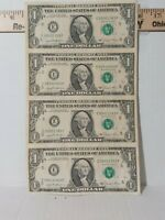 Sheet of 4 uncut 1981 US Mint Connected One Dollar bills Genuine Currency a1