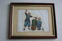 Antique Chinese Protrait Mens Figures Watercolour Painting Piece - Framed Glazed