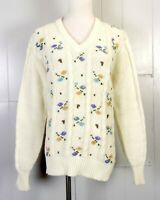 vtg 70s 80s Steve-Mor Pastel Floral Knit V-Neck Sweater Cable Knit Kawaii sz 44
