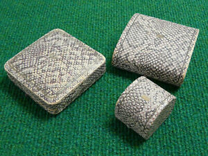 THREE MATCHING FAUX SNAKE SKIN & EMBOSSED GOLD CROWN ANTIQUE JEWELLERY BOXES