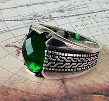 Turkish Ottoman Green Emerald  Gemstone Solid 925 Sterling Silver Men Ring