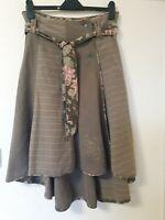 Fat Face Khaki Denim Wrap Embroidered Floral Long Rear Hemline Skirt Size 10