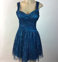 M X I Blue Tulle Glitter womens Party Dress Size 7