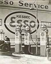 Old Antique Vintage Esso Gas Gasoline Pump Service Station Sign Photo Picture