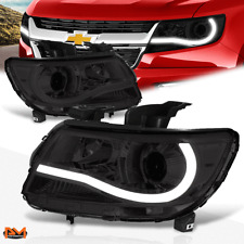 For 15-20 Chevy Colorado LED DRL U-Strip Projector Headlight/Lamp Smoked/Clear