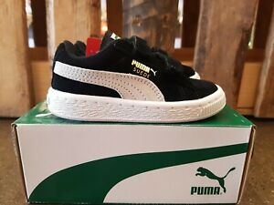 NEW IN THE BOX PUMA SUEDE 2 STRAPS BLACK-WHITE SHOES FOR KIDS