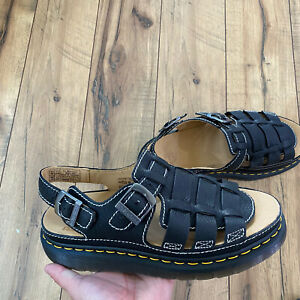 New Dr Doc Martens 8092 Arc Fisherman Sandals Black Leather Shoes Mens Size 11