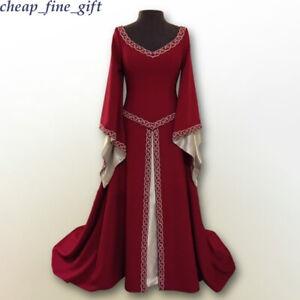 Halloween Cosplay Costumes Women Medieval Renaissance Fancy Maxi Princess Dress