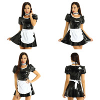 Women Adults Wet Look French Maid Uniform Halloween Party Cosplay Costume Dress