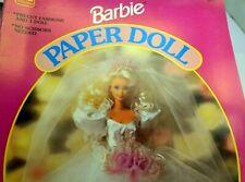 BARBIE PAPER DOLL ~ 1990 GOLDEN ~ BRIDAL BARBIE Mattel 1993 NEW UNCUT