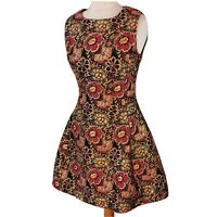 AX Paris Size 8-10 Gold Pink Blue Floral Fit Flare Dress Party Occasion Wedding