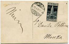 1912 Campanile di San Marco 5 cent. isolato su cartolina in tariffa dest. Monza