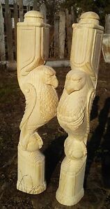 Wooden stairs Baluster, unique carved eagle statue, decorative element.