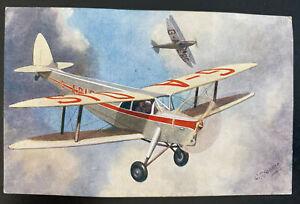Mint England Color Picture Postcard Aviation De Havilland Hornet Moth 2 Seater C