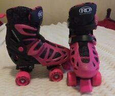 Roller Derby Girl's Trac Star Adjustable Roller Skates, Black/Pink, Size: 3-6