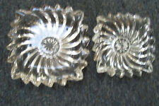 Set Of 2 Lead Crystal Clear Glass Ash Tray Trinket Jewelry Candy Nut Tray  Bowl