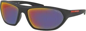 Prada Sport Sunglasses PS18US 1BO9Q1 66-17-135 Matte Black Grey Red Mirror