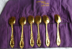 12 Towle King Richard Sterling Silver Vermeil Gold Ice Cream Forks  No Monogram