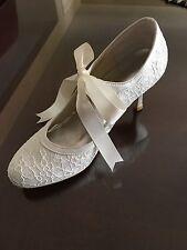 Minitoo Womens Round Toe High Heel Ribbon Mary Jane Ivory Lace Bridal Pump 9m US