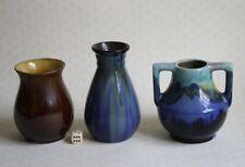 3 Karmik Vasen mit Laufglasur Bürgel Bunzlau Jugendstil braun gelb Blautöne anti